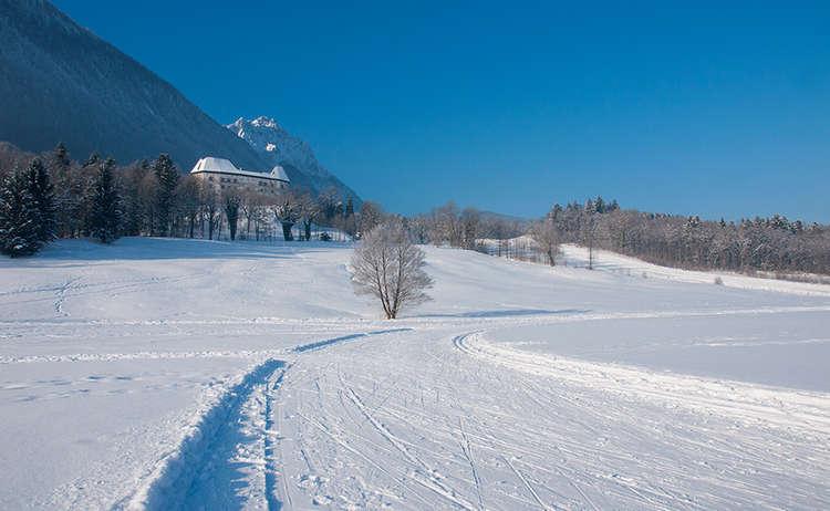 Piding Staufeneck Schloss Hochstaufen Winter Schnee Loipe