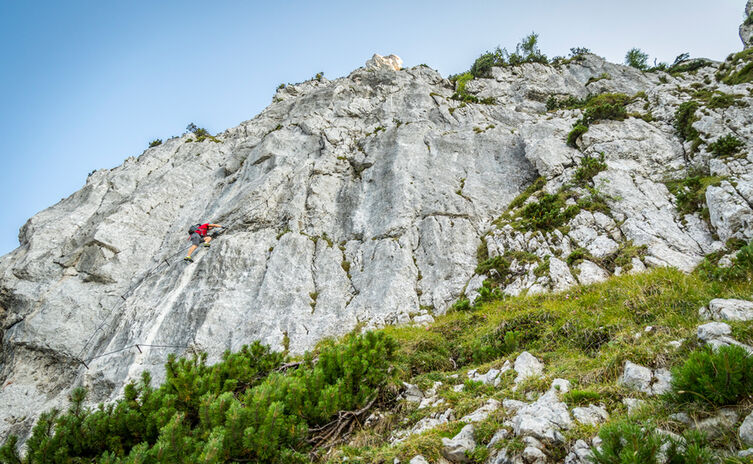 Die letzte Wand des Pidinger Klettersteigs