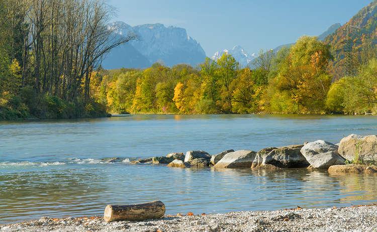 Piding Saalach Herbst Fluss Loferer Steinberge Reiter Alpe